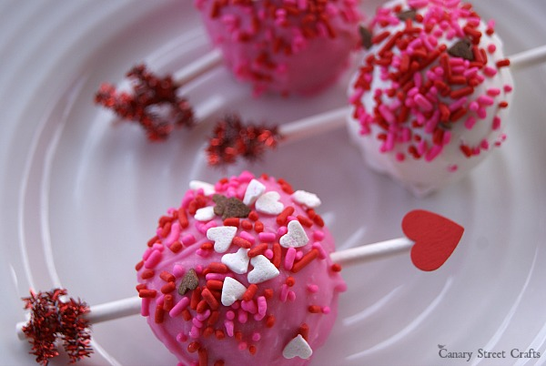 Adorable Valentine's Day cake pops!  {Canary Street Crafts}
