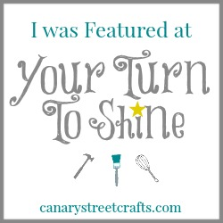 Your Turn To Shine link party. Every Thursday, 6am EST. Hosted by Canary Street Crafts