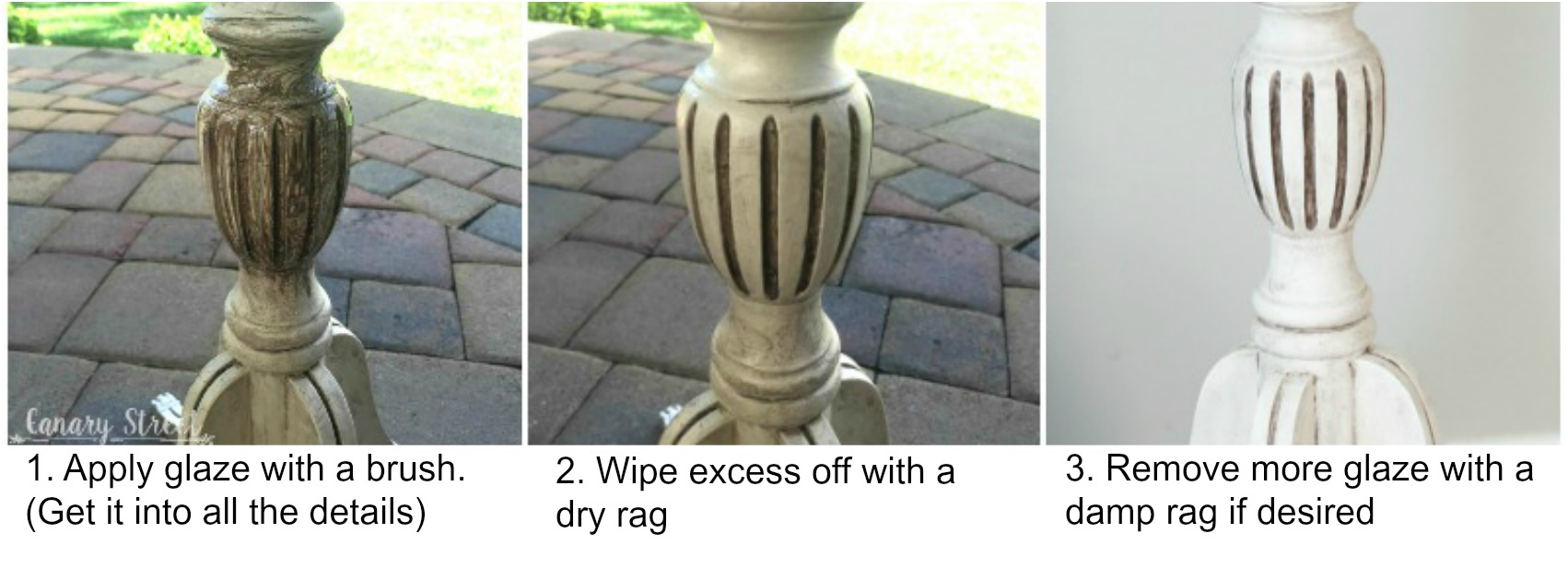 How to apply dark glaze and why to use glaze instead of wax.  https://canarystreetcrafts.com/
