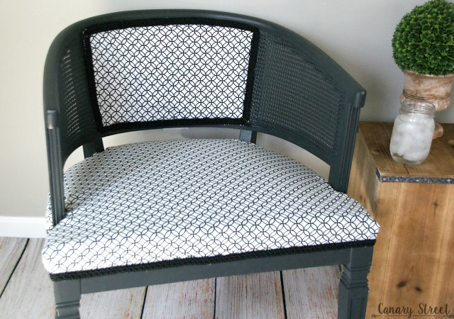Black and white reupholstered chair.  Painted with Annie Sloan Graphite chalk paint.  http://canarystreetcrafts.com/