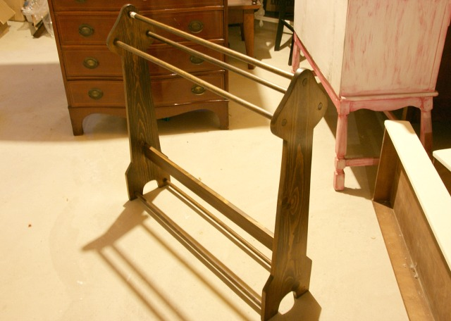 BEFORE: Thrift store blanket rack makeover.  Painted with chalk paint and a fleur de lis.  http://canarystreetcrafts.com/.