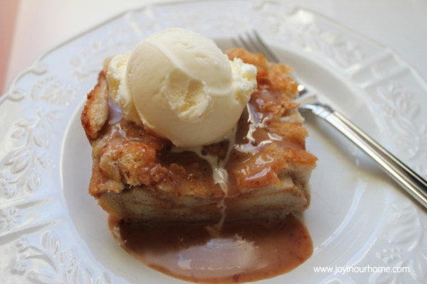Bread Pudding with Cinnamon Toffee Sauce from {Joy In Our Home}