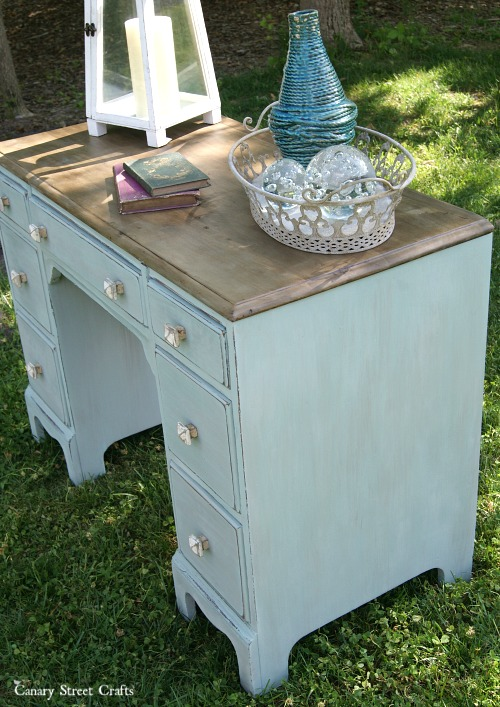 Coastal desk makeover using Annie Sloan chalk paint and Weatherwood stain on the top.