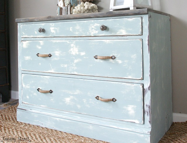 Weathered Coastal Dresser makeover.  Painted with Annie Sloan chalk paint and General Finishes stain.  Full tutorial  http://canarystreetcrafts.com/