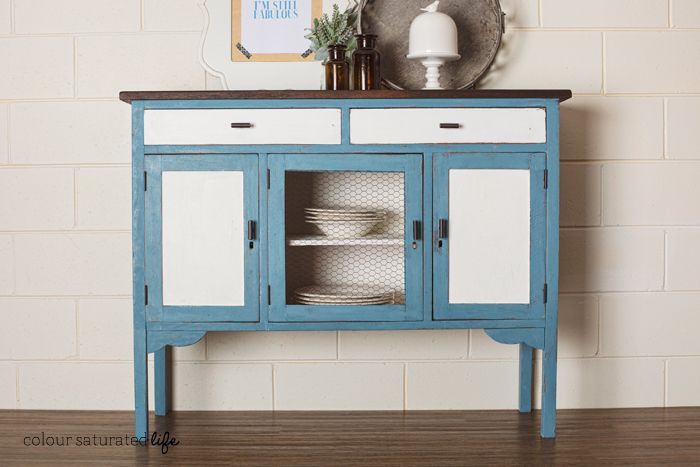 Pretty blue and white sideboard from Colour Saturated Life.