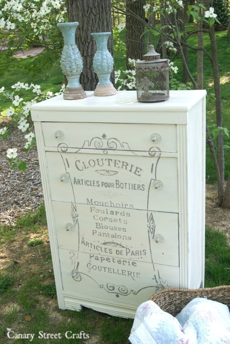 French Corset Dresser.  Painted with Annie Sloan chalk paint Old White and Paris Grey.  Plus a full tutorial for painting graphics on furniture.