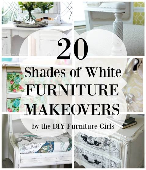 20 gorgeous furniture makeovers in all shades of white. http://canarystreetcrafts.com/