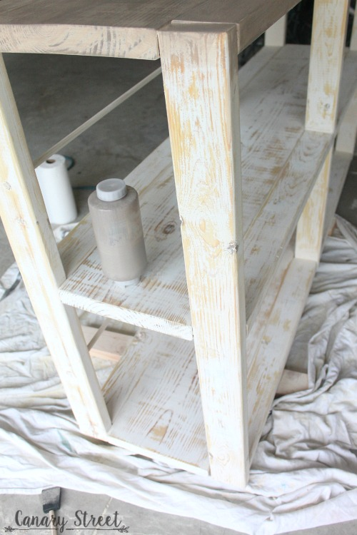 Easy DIY Rustic Shelf. Build your own with free plans and step by step instructions. https://canarystreetcrafts.com/