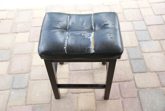 BEFORE: How to transform a cheap, beat up stool with a gorgeous farmhouse makeover. http://canarystreetcrafts.com/