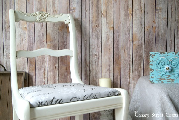 "Upcycled chair painted with Annie Sloan chalk paint ""Old White"".  {Canary Street Crafts}"