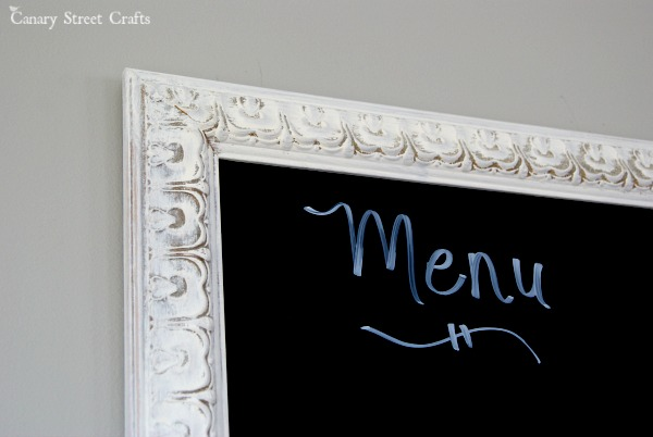 Dry Erase Board Made From An Old Frame And Black Paint. Use A Chalk Marker