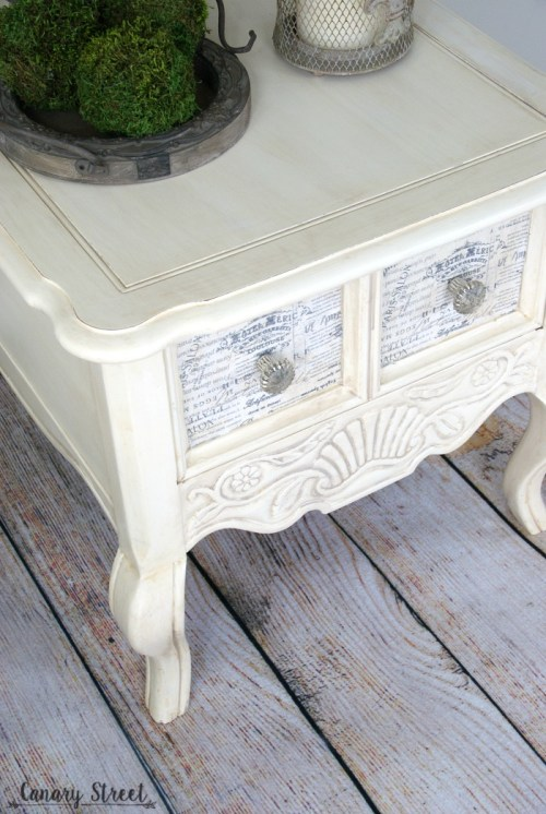 French Provincial Side Table. Painted with Annie Sloan Old White chalk paint and decoupaged fabric drawer fronts. Full tutorial plus dozens more furniture makeovers and painting tips http://canarystreetcrafts.com/