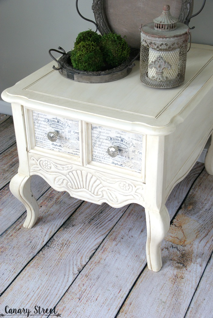 French Provincial Side Table. Painted With Annie Sloan Old White Chalk  Paint And Decoupaged Fabric