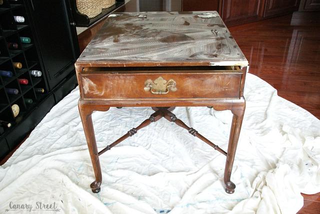 BEFORE: Gray table with white wash and stenciled top.  http://canarystreetcrafts.com/
