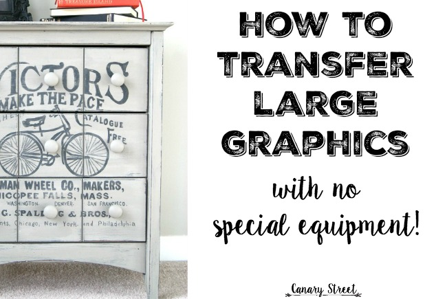 Transfer large graphics onto furniture or walls by using a free website to enlarge images. Step by step instructions at https://canarystreetcrafts.com/