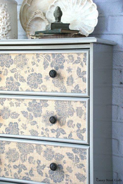 Burlap drawer front dresser. IKEA Rast Hack. http://canarystreetcrafts.com/