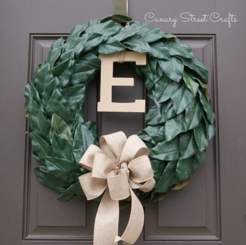 Magnolia Leaf Wreath - canarystreetcrafts.com