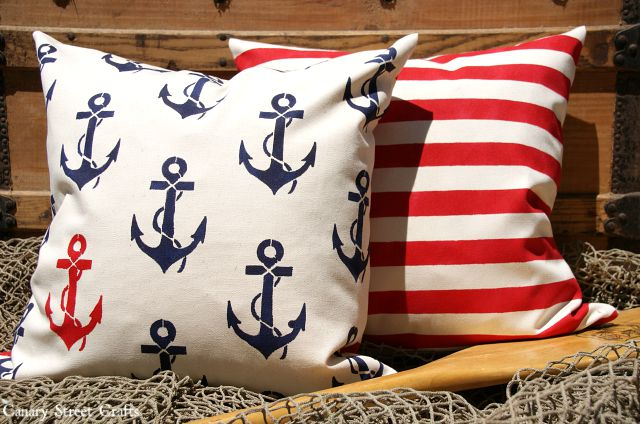 Nautical Decor - Stenciled Pillows - Canary Street Crafts