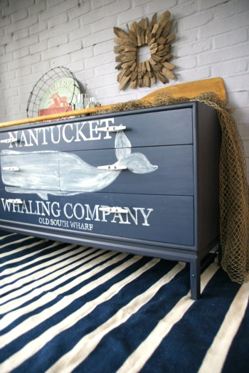 Nautical whale graphic dresser painted with Annie Sloan chalk paint http://canarystreetcrafts.com/