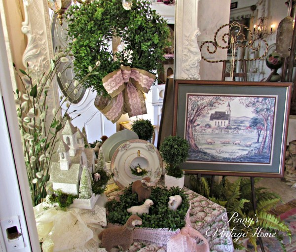 Spring Sheep and Boxwood from {Penny's Vintage Home}
