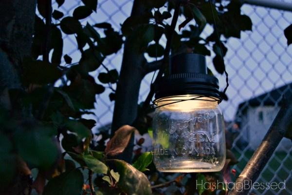 Hanging Mason Jar Solar Lights {Hashtagblessed}