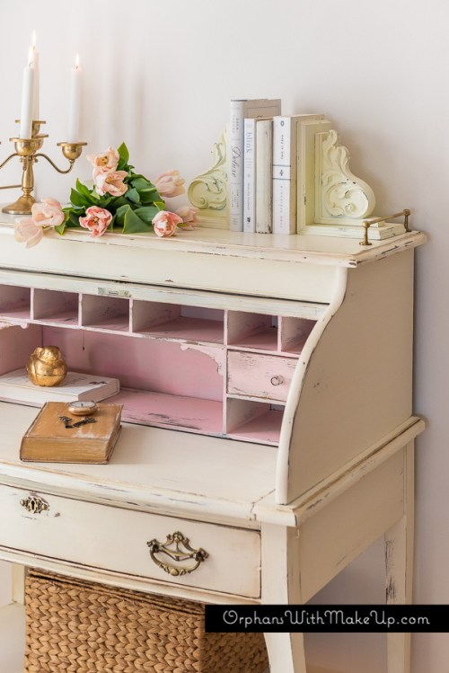 A Touch Of Pink - Roll Top Desk Makeover from Orphans With Makeup