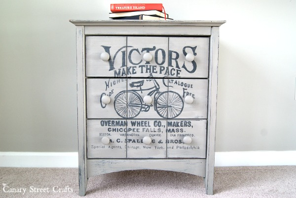 Vintage Bicycle Ad Table painted with Annie Sloan chalk paint. {Canary Street Crafts}