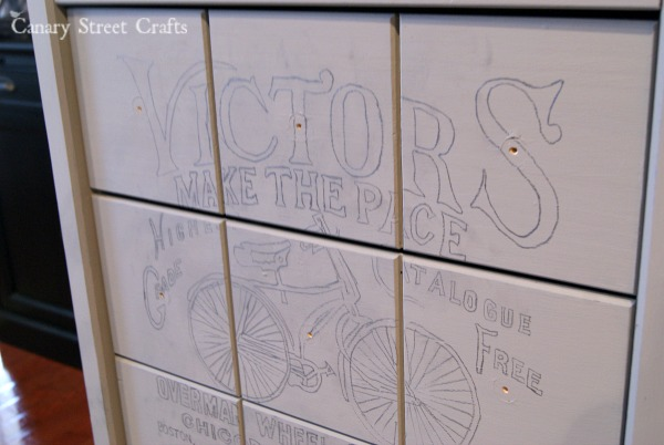 3 drawer side table painted with a vintage bicycle ad using Annie Sloan chalk paint.  {Canary Street Crafts}