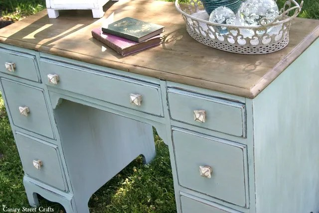 Coastal desk makeover using Annie Sloan chalk paint and Weatherwood stain on the top. Canary Street Crafts