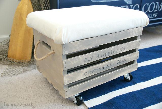 Wood Crate Storage Ottoman. Easily Make A Rolling Wood Crate Storage Ottoman.  Full Tutorial