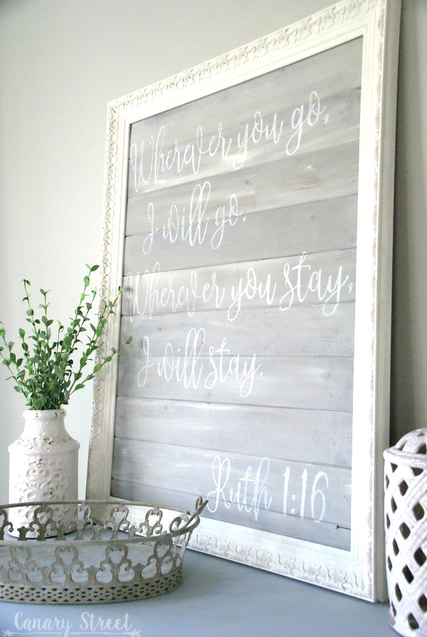 Ruth 1:16 bible verse DIY painted wood sign.  Step by step instructions for creating your own handmade signs.  http://canarystreetcrafts.com/