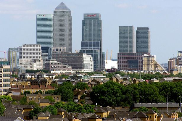 Tower Hamlets with Canary Wharf in the background