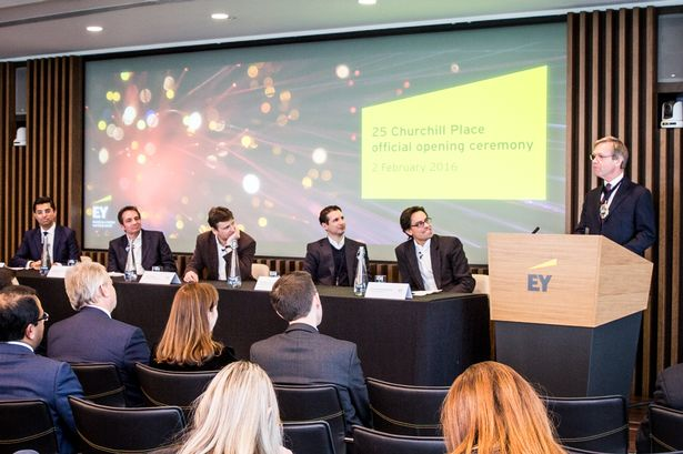 The Lord Mayor of London Alderman the Lord Mountevans opens a panel discussion which features, from left, EY's Omar Ali; Lawrence Wintermeyer, Giles Andrews, Christoph Rieche and Imran Gulamhuseinwala, EY global Fintech Leader