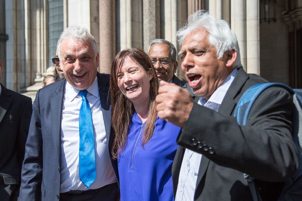 Three of the petitioners after it was announced Lutfur Rahman was found guilty of electoral fraud. Left to right; Andy Erlam, Angela Moffat and Azmal Hussein