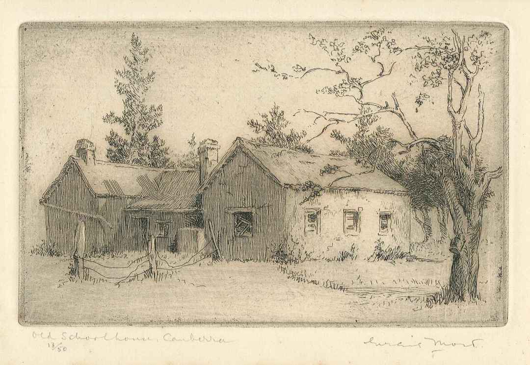 Eirene Mort 1879-1977; The Old Schoolhouse, Canberra 1926 Etching 13/50; Gift of the estate of Margaret Mort MBE