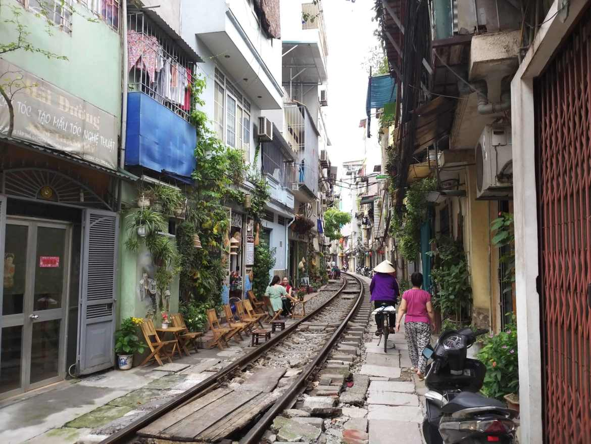 Train Street in Hanoi - we're going somewhere