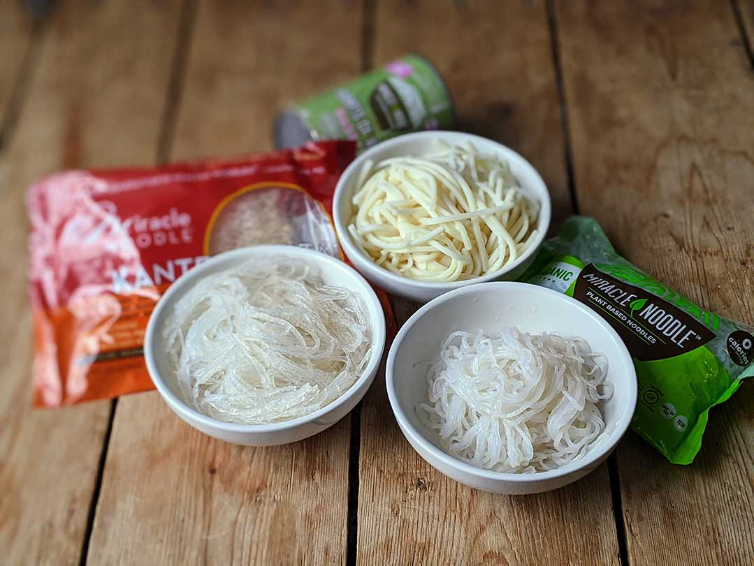 Comparing the best low carb noodles - hearts of palm, shitake and kanten