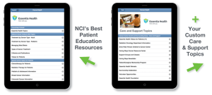 Two tablets showing CancerHelp Online with NCI patient education and custom care and support topics