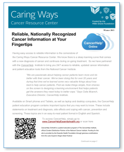 Essentia Health Flyer promoting their CancerHelp Online resource