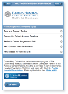 Florida Hospital Screen Shot Showing Foundation Thank You and LInks