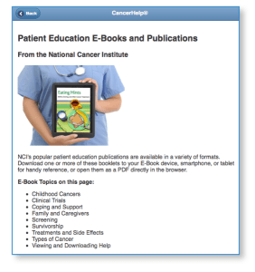 NCI Publications opening screen from CancerHelp Online