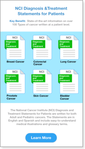 NCI Resources showing the Diagnosis and Treatment Statements from the NCI