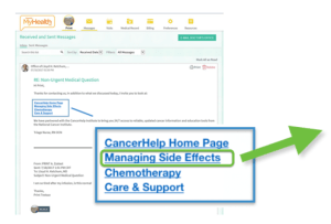 Screen shot showing recommended links sent to patient via email in the EMR
