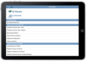 St Vincent Home Page on iPad