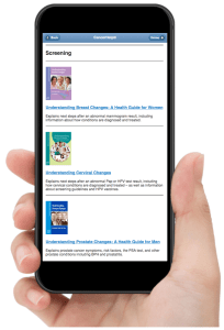 iPhone showing Ebooks and publications for cancer screening