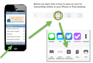 Directions for adding the CancerHelp icon to the iPhone and iPad home screen
