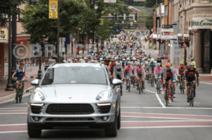 the rollout of the 2016 Alpine Loop Gran Fondo led by a Porsche from Porsche of Charlottesville drive by Erin Bishop