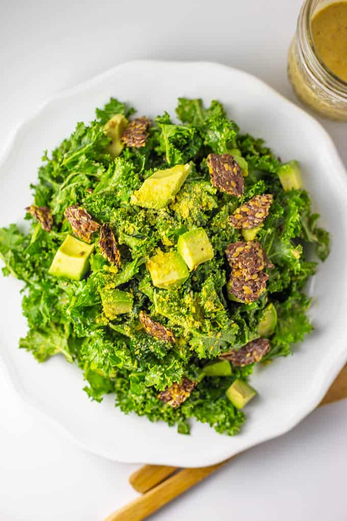 Fast and easy Vegan Keto Kale Caesar Salad is packed with nutrition and flavor