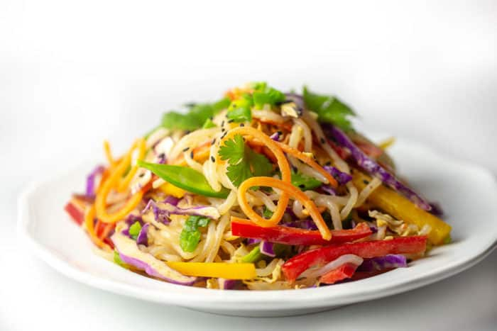 Thai Peanut Free Noodle Salad is raw  vegan, keto-friendly, paleo and incredibly delicious.