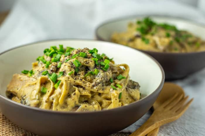 Vegan Keto Fettucine Alfredo pasta with mushrooms